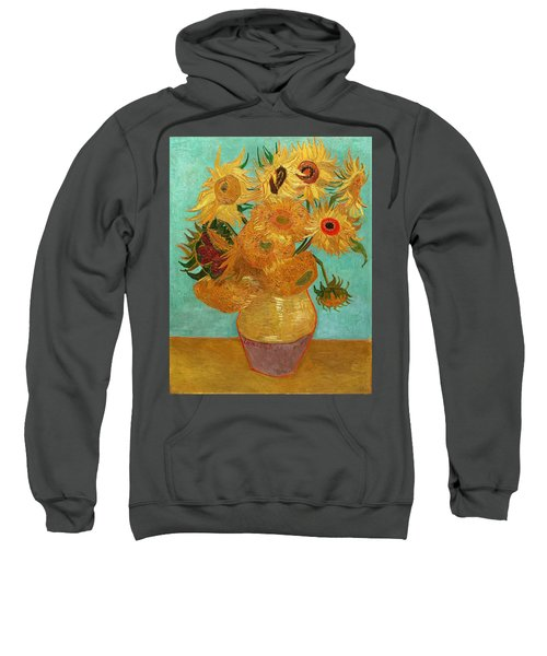 Sweatshirt featuring the painting Vase With Twelve Sunflowers by Van Gogh