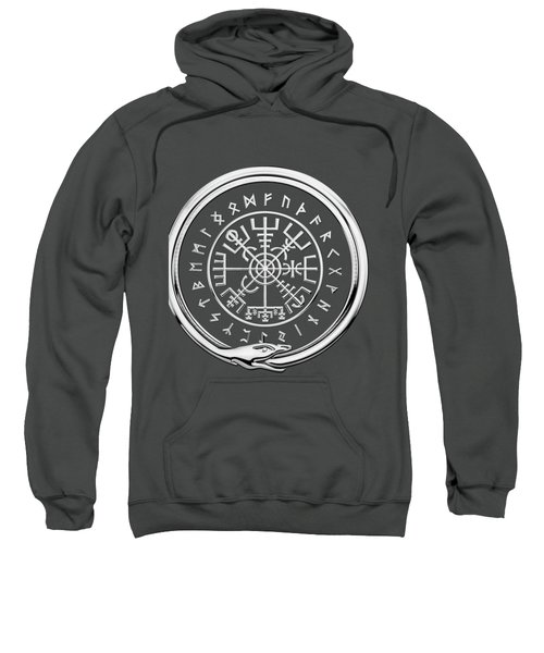Vegvisir - A Magic Icelandic Viking Runic Compass - Silver On Red Sweatshirt