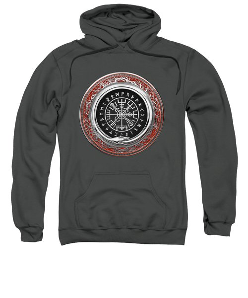 Vegvisir - A Silver Magic Viking Runic Compass On Red Leather  Sweatshirt
