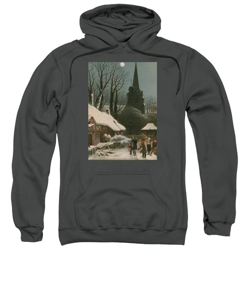 Victorian Christmas Scene With Band Playing In The Snow Sweatshirt