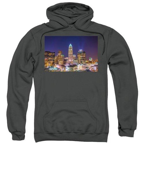 View Of Charlotte Skyline Aerial At Sunset Sweatshirt