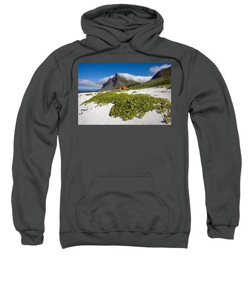 Vikten Beach With Green Grass, Mountains And Clouds Sweatshirt