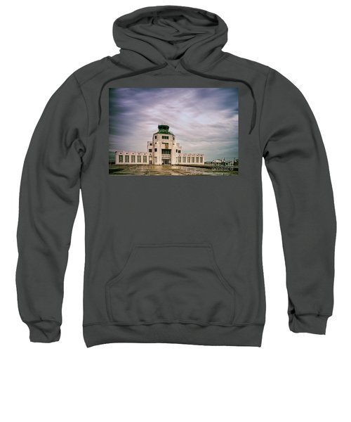 Vintage Architectural Photograph Of The 1940 Air Terminual Museum - Hobby Airport Houston Texas Sweatshirt