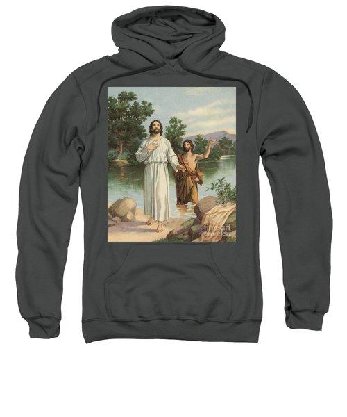 Vintage Illustration Of The Baptism Of Christ Sweatshirt