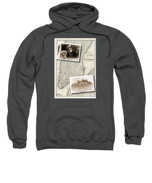 Vintage New York Map With Ellis Island Sweatshirt