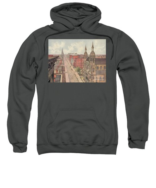 Vintage Print Of Fifth Avenue From 42nd Street In New York City, Looking North, 1904 Sweatshirt