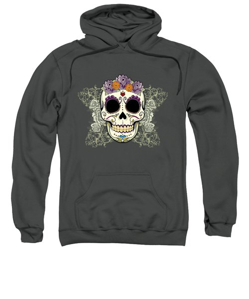 Vintage Sugar Skull And Flowers Sweatshirt by Tammy Wetzel