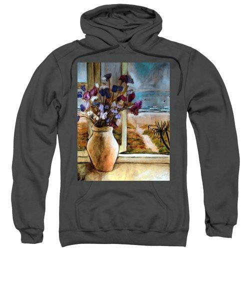 Violet Beach Flowers Sweatshirt by Winsome Gunning