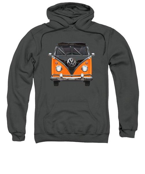 Volkswagen Type 2 - Black And Orange Volkswagen T 1 Samba Bus Over Blue Sweatshirt