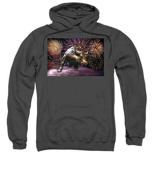 Wall Street Bull Fireworks Sweatshirt