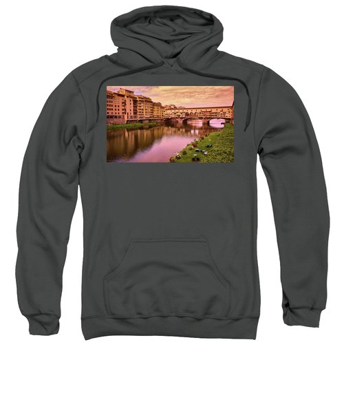 Sunset At Ponte Vecchio In Florence, Italy Sweatshirt