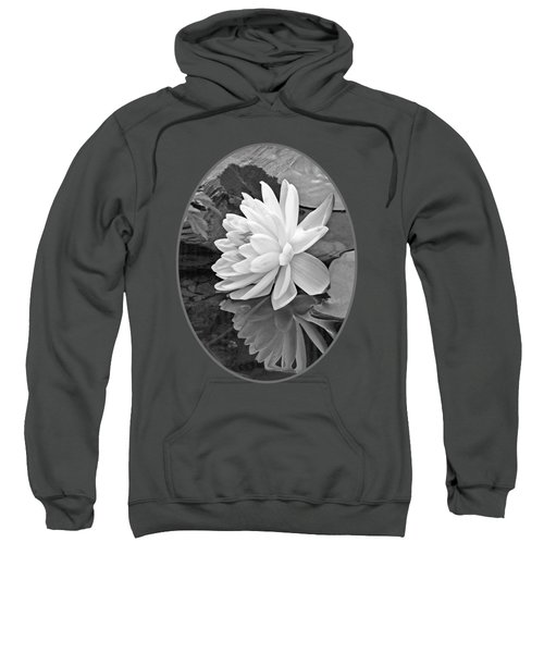 Water Lily Reflections In Black And White Sweatshirt by Gill Billington