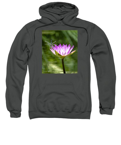 Sweatshirt featuring the photograph Water Lily With Dragon Fly by Bill Barber