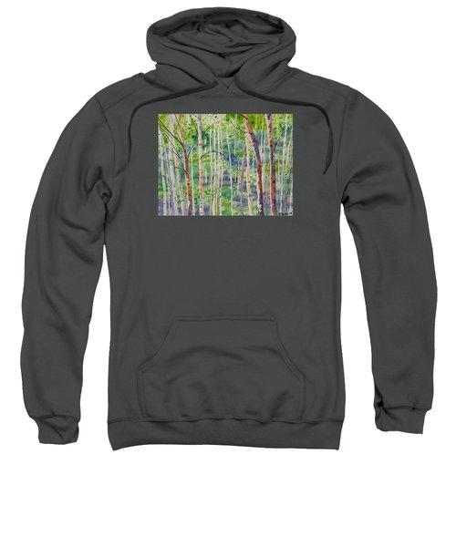 Watercolor - Magical Aspen Forest After A Spring Rain Sweatshirt
