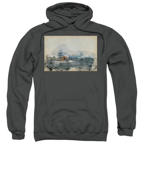 Watercolor Painting Of Pleasure Cruise Boat On Menai Straits In Anglesey Wales. Sweatshirt