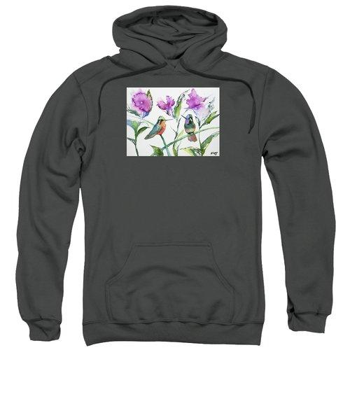 Watercolor - Purple-throated Mountain Gems And Flowers Sweatshirt