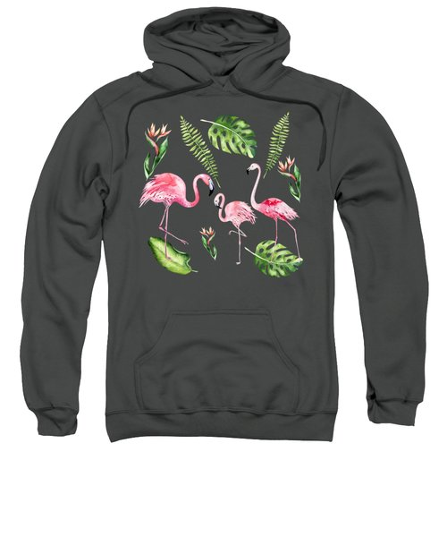 Sweatshirt featuring the painting Watercolour Flamingo Family by Georgeta Blanaru