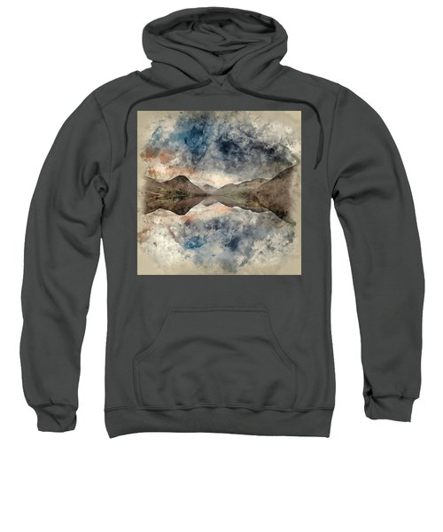 Watercolour Painting Of Beautiful Sunset Landscape Image Of Wast Sweatshirt