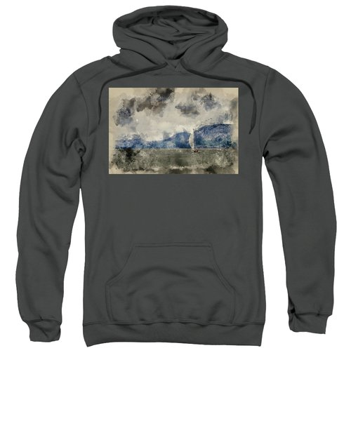 Watercolour Painting Of Small Sailing Boat On Menai Straits In Anglesey Wales. Sweatshirt