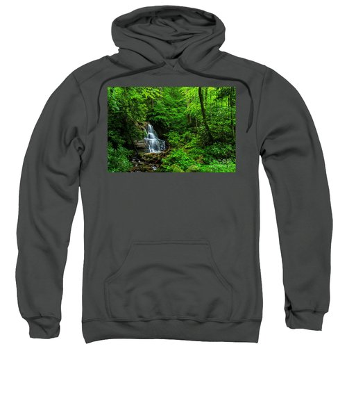 Waterfall And Rhododendron In Bloom Sweatshirt