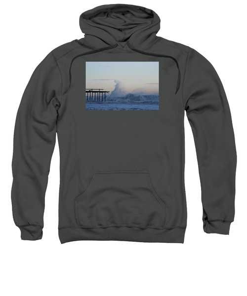 Wave Towers Over Oc Fishing Pier Sweatshirt