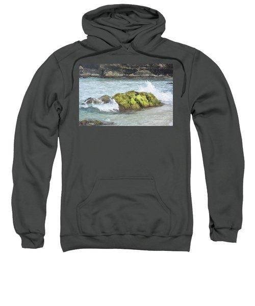Waves Crashing On A Moss Covered Rock On Boca Keto Sweatshirt