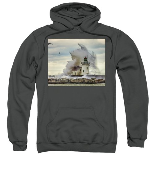 Waves Over The Lighthouse In Cleveland. Sweatshirt
