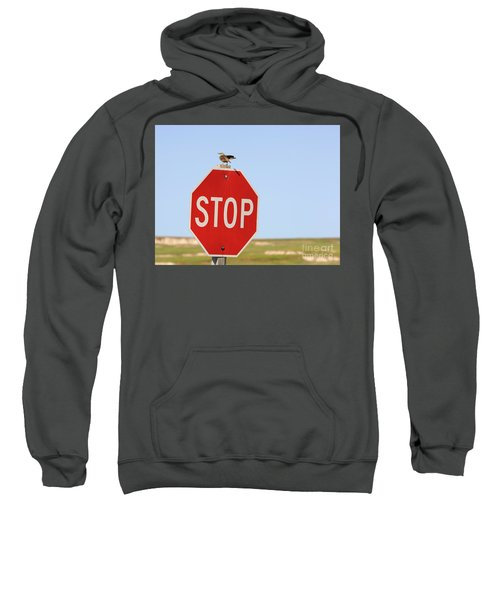 Western Meadowlark Singing On Top Of A Stop Sign Sweatshirt by Louise Heusinkveld