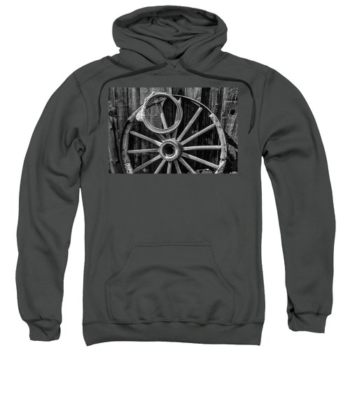 Western Rope And Wooden Wheel In Black And White Sweatshirt