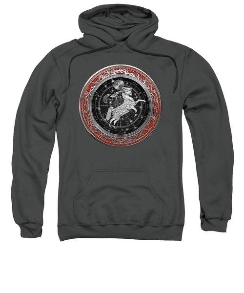 Western Zodiac - Silver Aries -the Ram On Red Velvet Sweatshirt