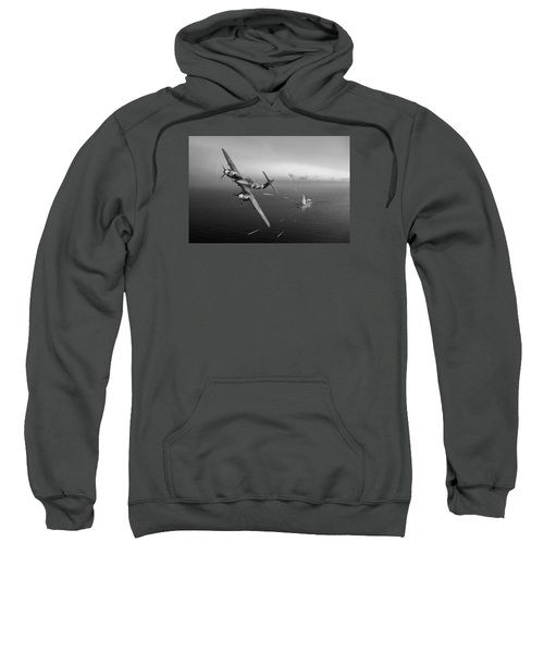 Sweatshirt featuring the photograph Westland Whirlwind Attacking E-boats Black And White Version by Gary Eason