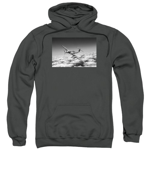Sweatshirt featuring the photograph Westland Whirlwind Portrait Black And White Version by Gary Eason