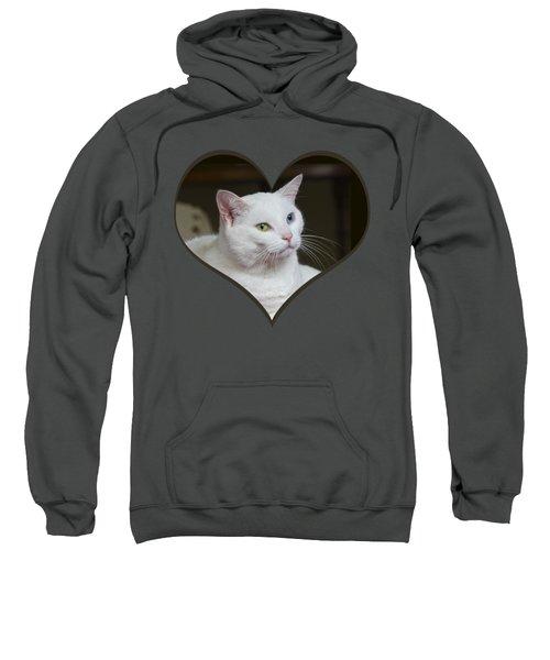 White Cat On A Transparent Heart Sweatshirt