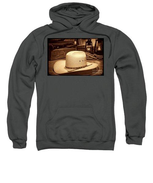 White Cowboy Hat In A Barn Sweatshirt