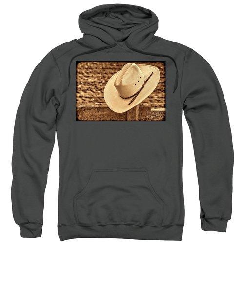 White Cowboy Hat On Fence Sweatshirt