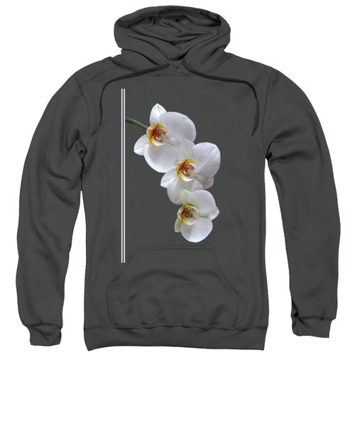 White Orchids On Terracotta Vdertical Sweatshirt by Gill Billington