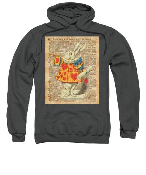 White Rabbit With Trumpet Alice In Wonderland Vintage Dictionary Artwork Sweatshirt