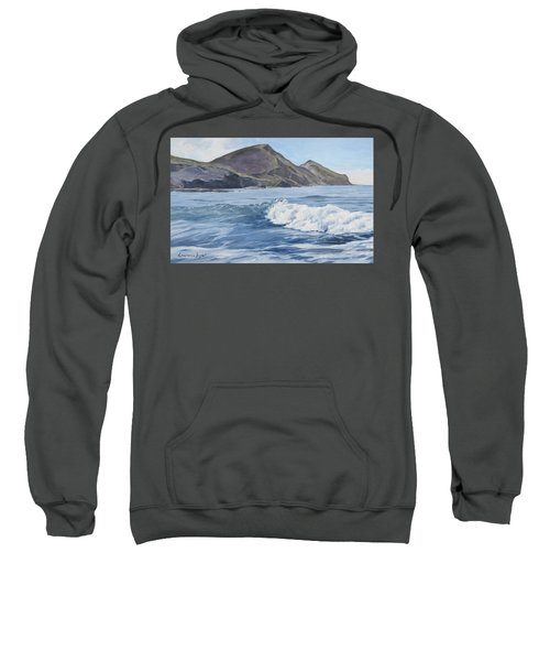 Sweatshirt featuring the painting White Wave At Crackington  by Lawrence Dyer