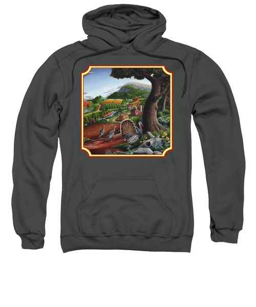 Wild Turkeys In The Hills Country Landscape - Square Format Sweatshirt