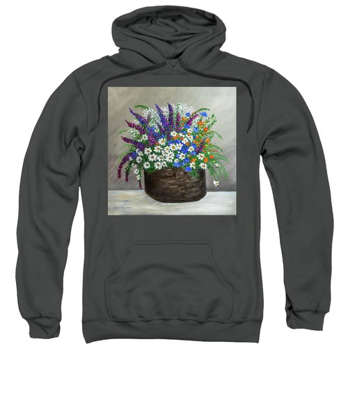 Wildflower Basket Acrylic Painting A61318 Sweatshirt