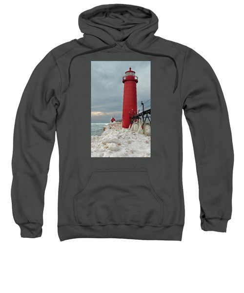 Winter At Grand Haven Lighthouse Sweatshirt
