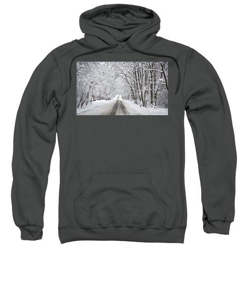 Winter Drive On Highway A Sweatshirt