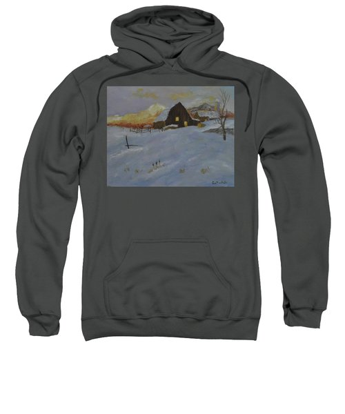 Winter Dusk On The Farm Sweatshirt