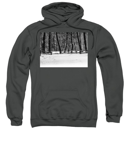 Winter Fences In Black And White  Sweatshirt
