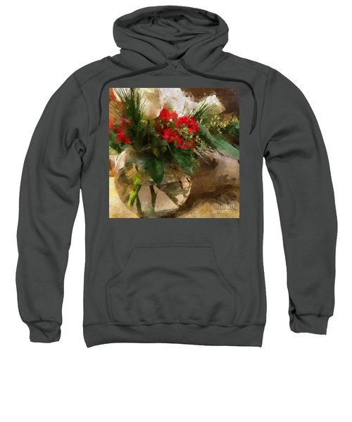Winter Flowers In Glass Vase Sweatshirt