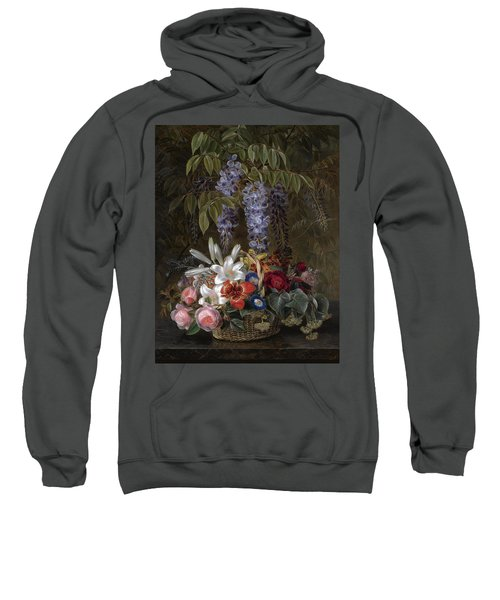 Wisteria With Roses Lilies And Summer Flowers In A Basket Sweatshirt