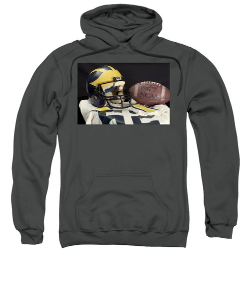 Wolverine Helmet With Jersey And Football Sweatshirt