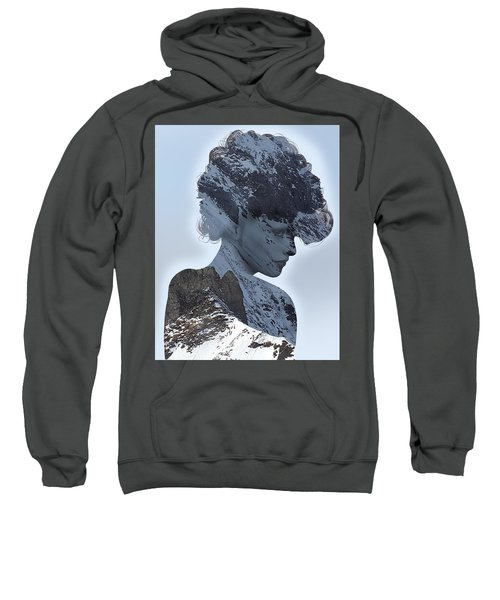 Woman And A Snowy Mountain Sweatshirt
