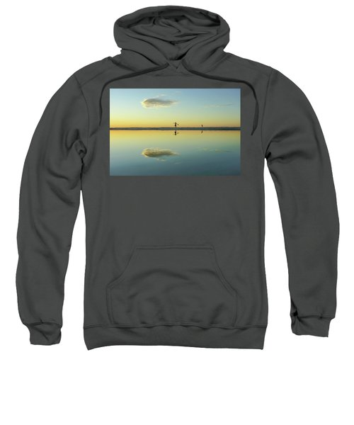 Woman And Cloud Reflected On Beach Lagoon At Sunset Sweatshirt