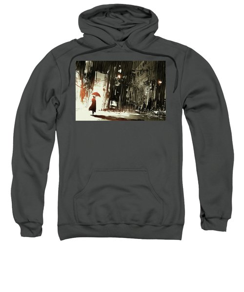 Sweatshirt featuring the painting Woman In The Destroyed City by Tithi Luadthong
